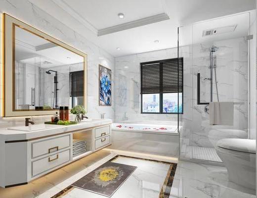 卫生间, 洗手台, 装饰镜, 马桶, 浴缸, 花洒, 装饰画, 现代