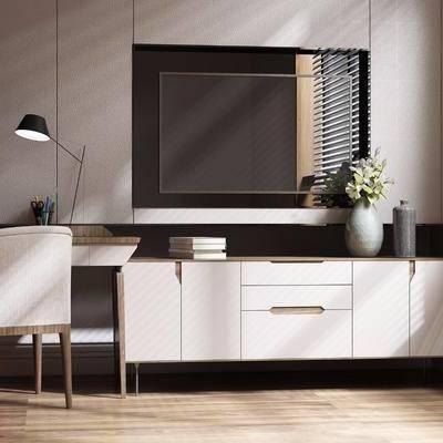邊柜, 裝飾柜, 電視柜, 擺件, 裝飾品, 書桌, 單椅, 臺燈, 書架, 書籍, 花瓶, 現代