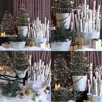 圣诞, 灯饰, 盆栽, 现代圣诞灯饰盆栽组合, 现代