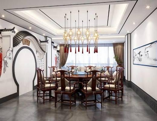 新中式, 包间, 餐桌椅, 徽派, 造型墙, 新中式包厢