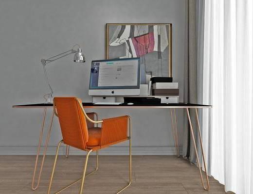 书桌, 书籍, 桌椅组合, 落地灯