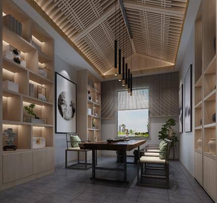 茶室, 桌椅组合, 吊灯, 背景墙, 置物柜