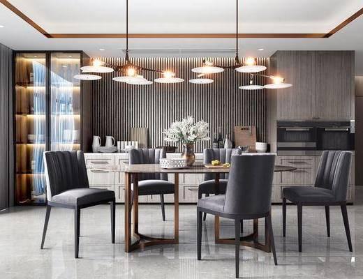 餐桌, 桌椅组合, 摆件, 吊灯, 餐具组合, 边柜
