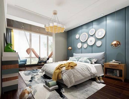 现代卧室, 北欧卧室, 双人床, 卧室