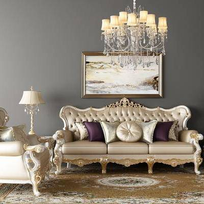 欧式沙发, 雕花沙发, 水晶灯, 挂画, 台灯