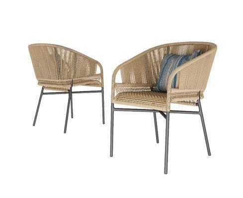 现代, 简约, 藤椅, 3d模型, 单体