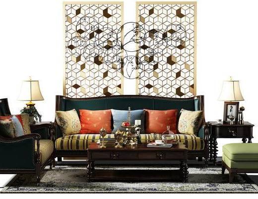 沙发椅, 茶几, 地毯, 隔断, 屏风, 沙发凳, 盆景, 植物, 沙发组合, 现代