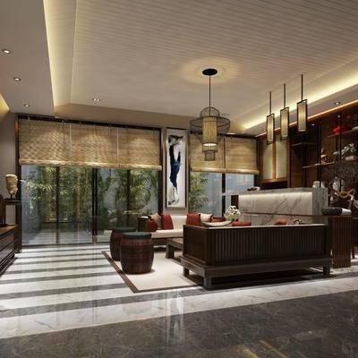 中式客厅, 中式, 中式吊灯, 中式沙发, 凳子