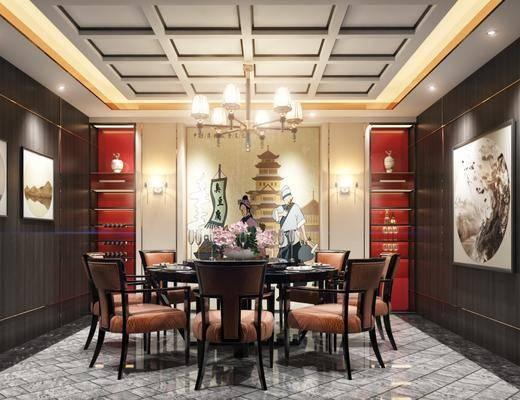 餐厅, 餐桌, 餐椅, 装饰画, 挂画, 单人椅, 吊灯, 摆件, 装饰品, 陈设品, 新中式