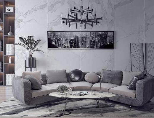 多人沙发, 弧形沙发, 装饰画, 挂画, 吊灯, 茶几, 盆栽, 摆件, 装饰品, 陈设品, 装饰柜, 现代