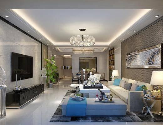 现代, 客厅, 客餐厅, 多人沙发, 休闲椅, 沙发凳, 边几, 台灯, 餐桌椅, 挂画, 吊灯, 电视柜, 盘栽