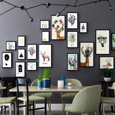 装饰画, 餐桌, 餐椅, 摆件, 吧椅, 北欧