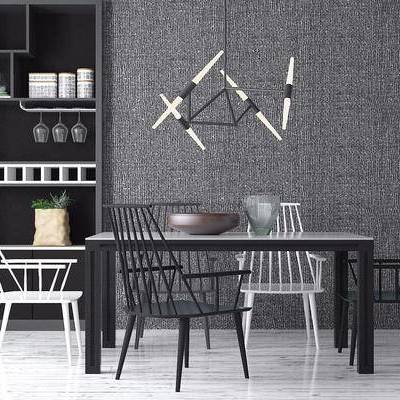北欧餐桌椅, 北欧, 椅子, 餐桌, 吊灯, 酒柜