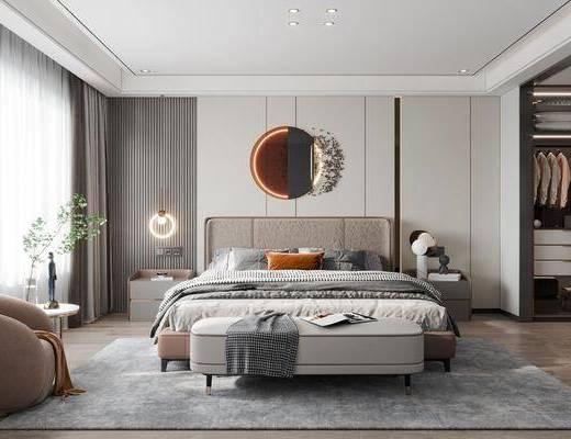 现代, 轻奢, 卧室, 家装