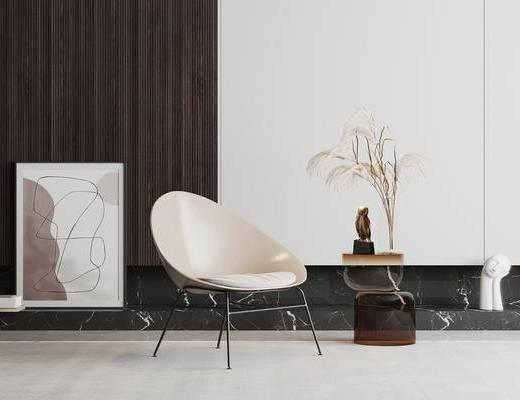 现代, 单人椅, 边几, 组合
