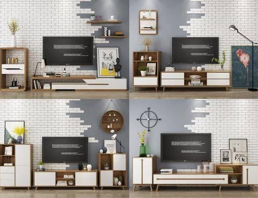 电视柜, 装饰柜, 边柜, 装饰画, 挂画, 落地灯, 墙饰, 摆件, 装饰品, 陈设品, 摆件组合, 北欧