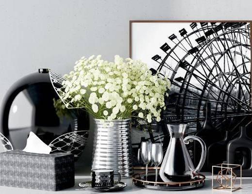 摆件组合, 饰品摆件, 花瓶花卉, 现代