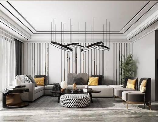 沙发组合, 茶几, 吊灯, 单椅, 背景墙, 盆栽植物