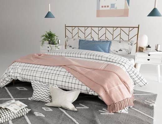 雙人床, 床具組合, 裝飾畫
