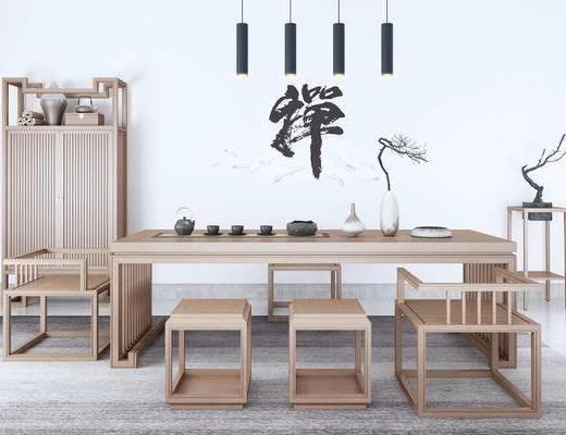 桌椅组合, 茶桌, 单人椅, 边柜, 装饰架, 墙饰, 吊灯, 摆件, 装饰品, 陈设品, 茶凳, 新中式