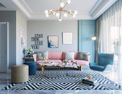 北欧, 客厅, 多人沙发, 单人沙发, 沙发凳, 挂画, 吊灯, 地毯, 边几