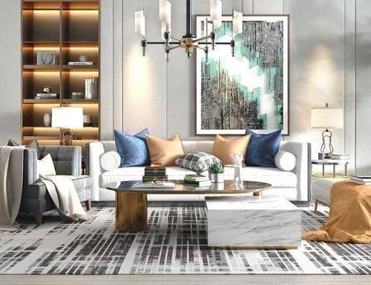 客厅, 茶几组合, 沙发组合, 吊灯, 置物柜, 装饰画