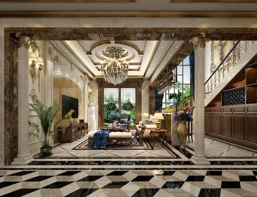欧式, 古典, 别墅, 复式, 客厅, 餐厅, 楼梯, 玄关过道, 沙发, 电视墙, 植物, 吊灯, 餐桌椅, 案几, 茶几, 酒柜, 花瓶
