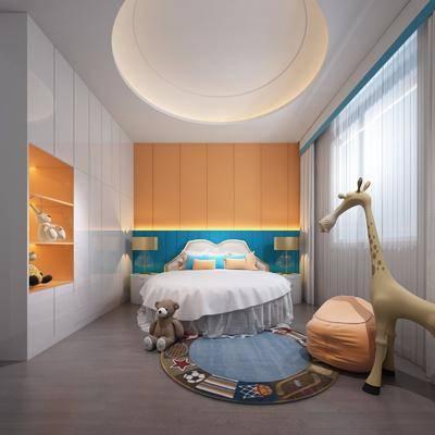 儿童房, 卧室, 床, 玩具, 衣柜, 台灯