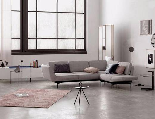 沙发组合, 多人沙发, 装饰画, 屏风, 边几, 摆件组合