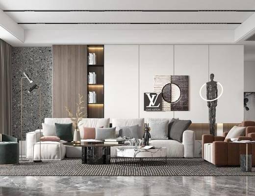 现代简约, 客厅, 多人沙发, 挂件, 边几, 落地灯