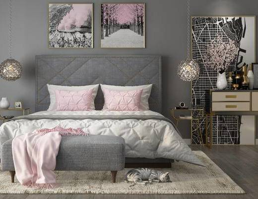 公主房, 女儿房, 后现代, 床具, 装饰画