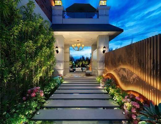 花园, 吊灯, 壁灯, 躺椅, 竹子, 花卉, 绿植, 美式