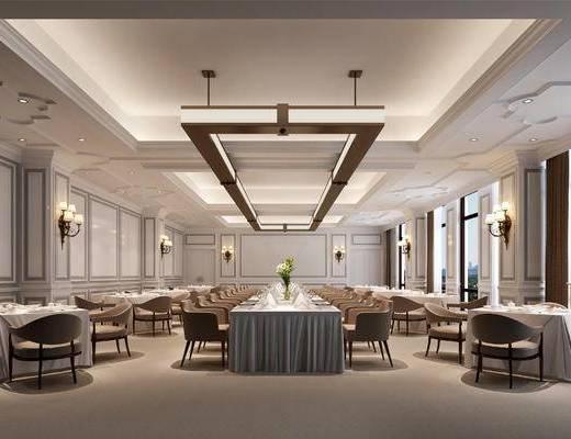 宴会厅, 餐厅, 西餐厅, 壁灯, 餐桌椅
