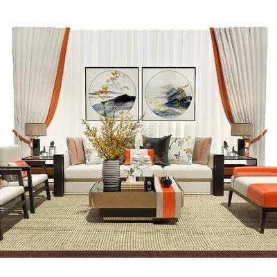 沙发茶几组合, 沙发组合, 装饰画, 窗帘, 茶几, 新中式