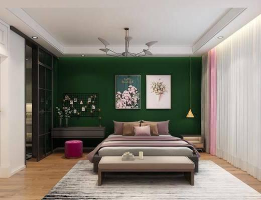 卧室, 床具, 双人床, 床头柜, 吊灯, 挂画, 装饰画, 地毯, 尾榻, 桌子, 梳妆台, 沙发凳, 墙饰, 北欧