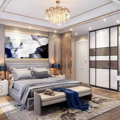 现代, 卧室, 床, 现代卧室, 衣柜, 床头柜, 金属吊灯