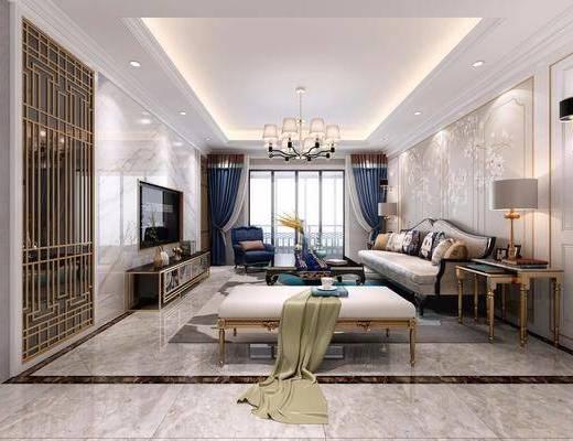 客厅, 多人沙发, 躺椅, 茶几, 单人沙发, 电视柜, 装饰柜, 边柜, 边几, 台灯, 壁灯, 吊灯, 摆件, 装饰品, 陈设品, 现代