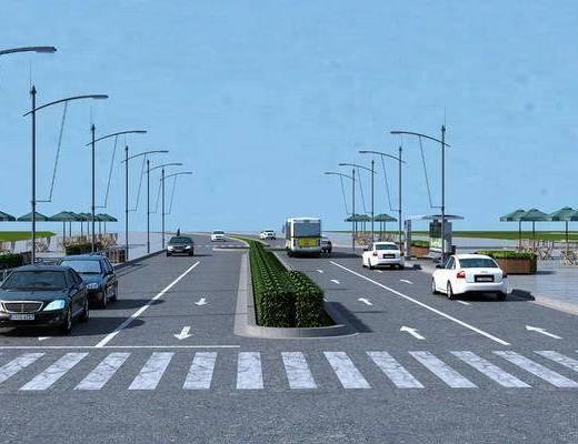 道路绿化, 汽车组合, 现代
