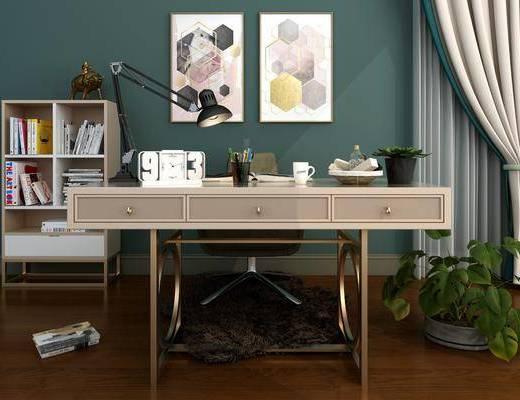 桌椅组合, 书桌, 单人椅, 台灯, 盆栽, 装饰画, 挂画, 书柜, 书籍, 边柜, 绿植植物, 办公椅, 装饰品, 陈设品, 后现代
