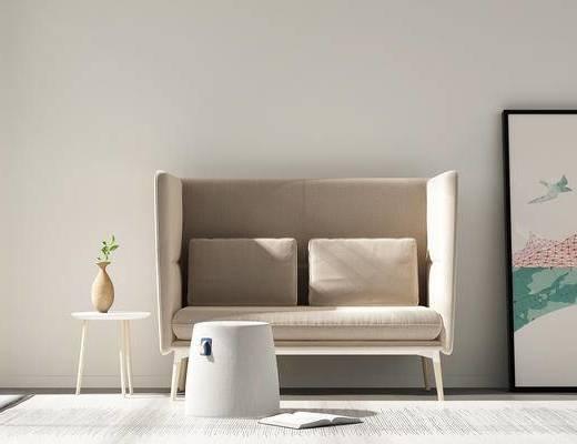 北欧双人沙发, 圆几, 饰品, 圆凳, 沙发组合, 布艺沙发, 北欧