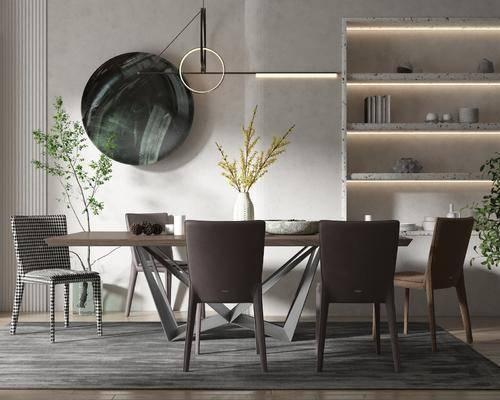 现代, 餐桌, 餐椅, 绿植, 吊灯