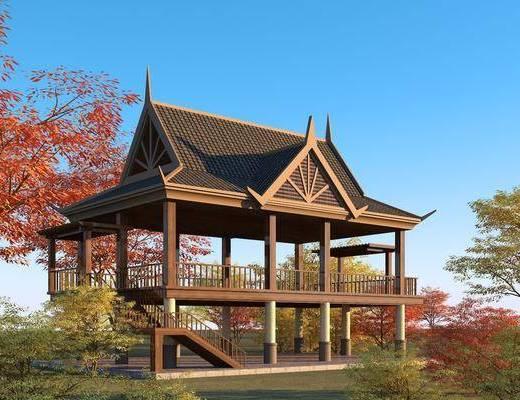 园林景观小品, 凉亭, 休闲廊坊, 风雨亭, 木结构景观台
