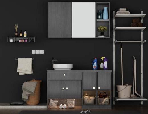 卫生间, 洗手台, 洗浴组合, 装饰柜, 装饰架, 现代