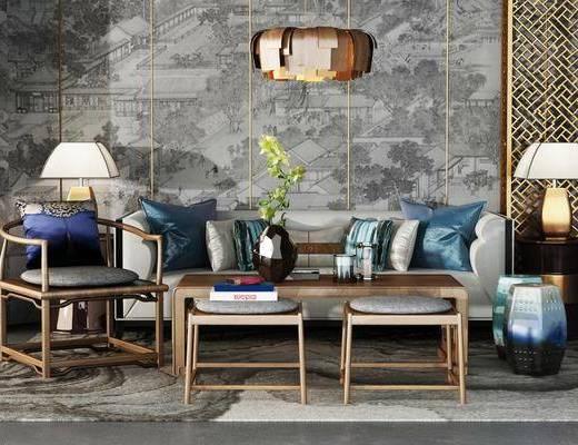 茶几, 沙发, 吊灯, 案几, 台灯, 椅子, 凳, 单椅, 花瓶, 花卉, 摆件, 装饰品, 新中式