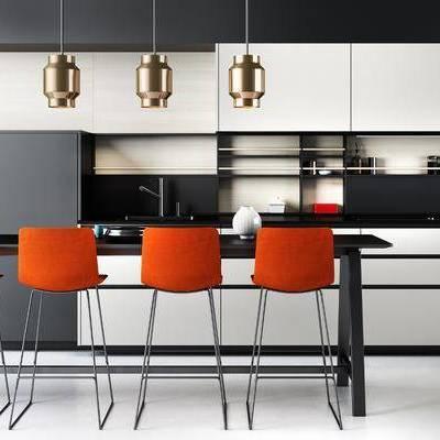 厨房, 吧椅, 吧台, 吊灯, 现代