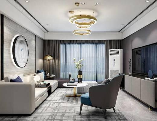 现代, 客厅, 多人沙发, 单人沙发, 电视柜, 吊灯, 墙饰, 空调, 茶几, 落地灯