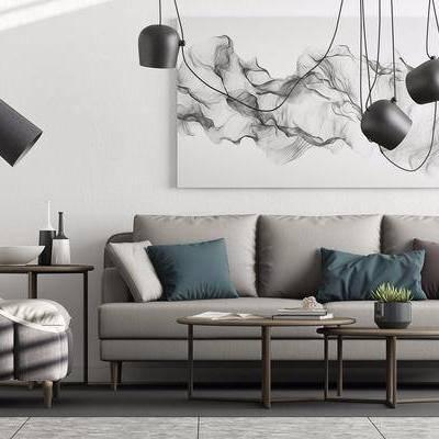 现代沙发茶几组合, 现代, 沙发, 茶几, 吊灯, 椅子
