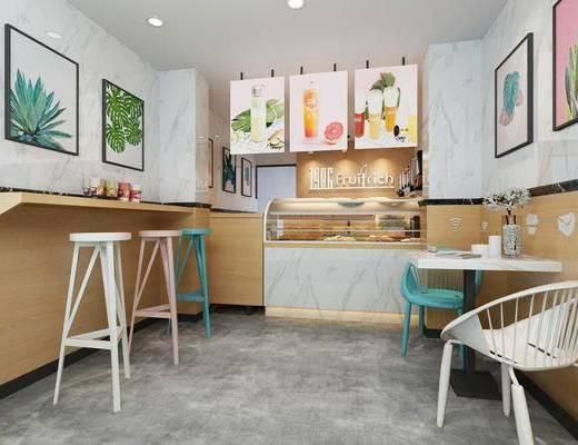 甜品店, 吧台, 吧椅, 单人椅, 桌子, 展示台, 装饰画, 挂画, 北欧
