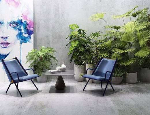 单椅, 椅子, 现代单椅, 植物, 盆栽, 绿植, 装饰画, 现代
