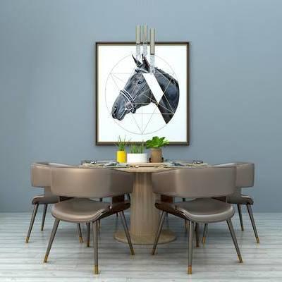 北欧餐桌椅组合, 圆形餐桌, 木质餐桌, 餐桌装饰, 实木餐桌, 餐厅餐桌, 吊灯, 北欧